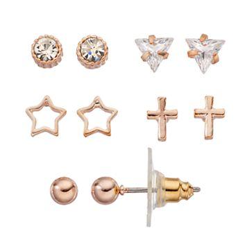 LC Lauren Conrad Cubic Zirconia Cross & Star Stud Earring Set