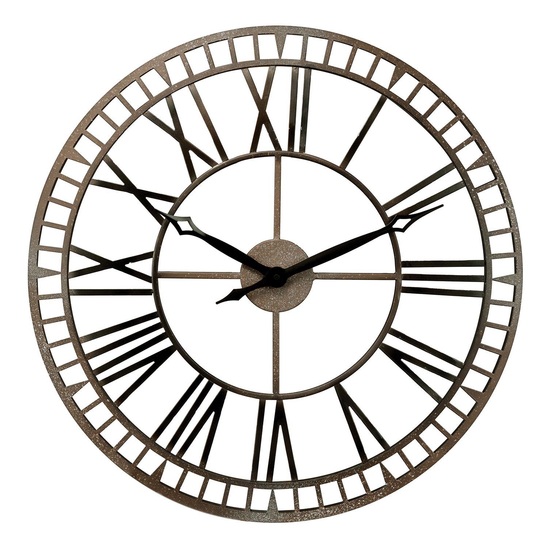 36 inch wall clock bulova the gotham oversized wall clock silver chaney metal wall clock amipublicfo Choice Image