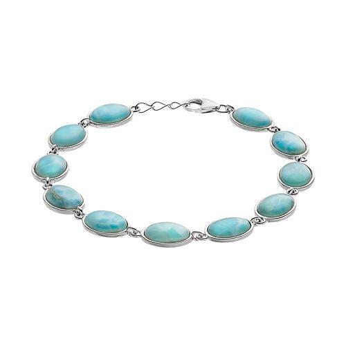 Sterling Silver Larimar Oval Bracelet