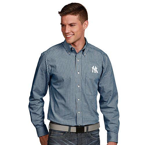 Men's Antigua New York Yankees Associate Plaid Button-Down Shirt