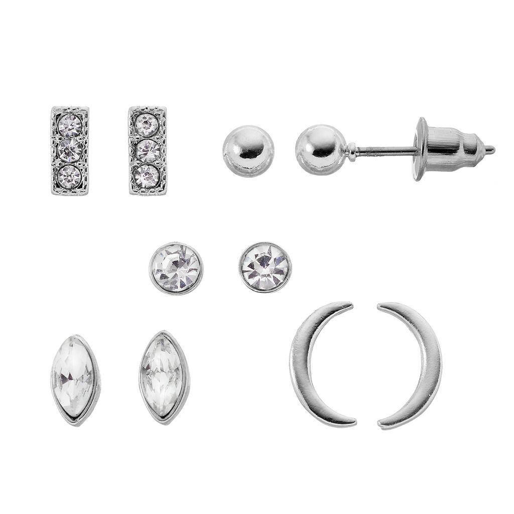 LC Lauren Conrad Crescent, Bar & Simulated Crystal Stud Earring Set