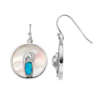 Sterling Silver Mother-of-Pearl & Lab-Created Blue Opal Flip-Flop Disc Drop Earrings