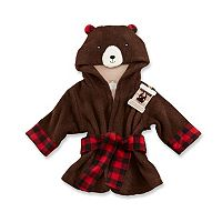 Baby Aspen Beary Bundled Brown & Red Hooded Robe