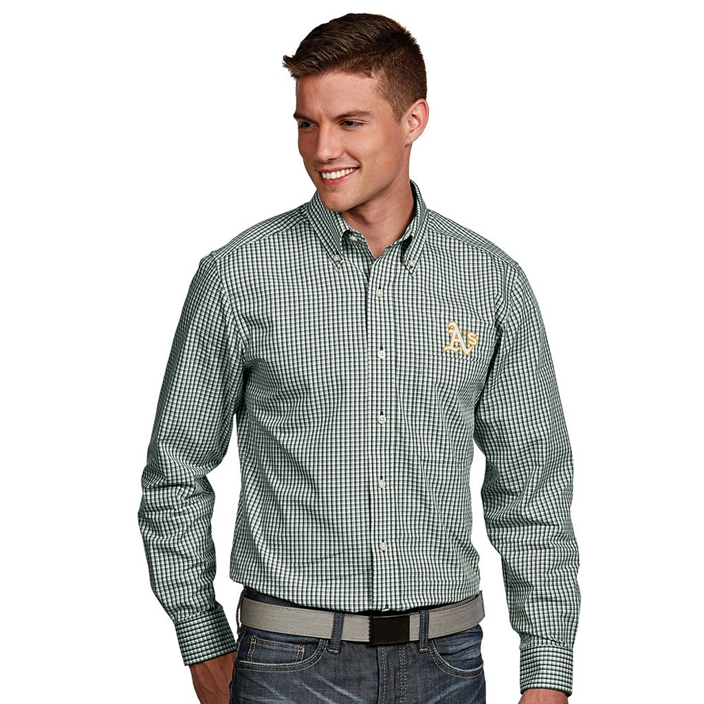 Men's Antigua Oakland Athletics Associate Plaid Button-Down Shirt