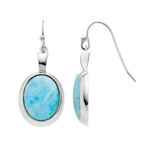 Sterling Silver Larimar Oval Drop Earrings