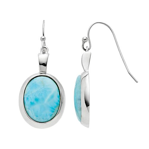 Sterling Silver Larimar Oval Drop Earrings