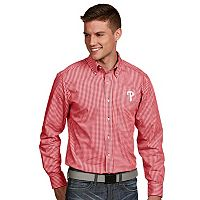 Men's Antigua Philadelphia Phillies Associate Plaid Button-Down Shirt