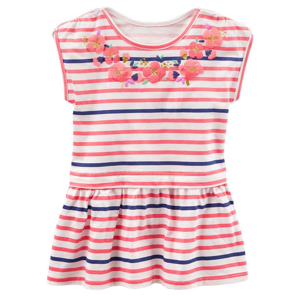 Girls 4-8 OshKosh B'gosh® Embroidered Flower Stripe Peplum Top