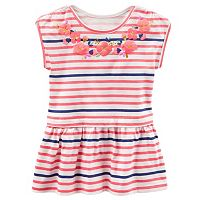 Girls 4-8 OshKosh B'gosh® Embroidered Flower Stripe Peplum Top