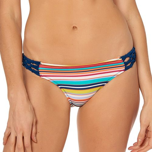 Women's Pink Envelope Striped Braided Bikini Bottoms