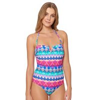 Women's Pink Envelope Geometric One-Piece Swimsuit