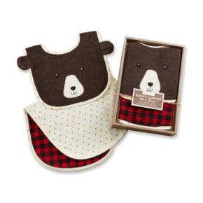 Baby Aspen Happy Camper Red Plaid Bib & Burp Cloth Set