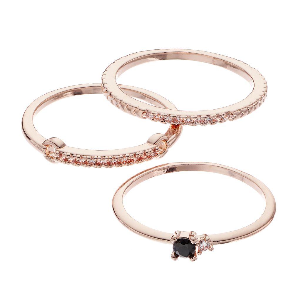 LC Lauren Conrad Simulated Crystal Ring Set