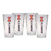 Illinois Fighting Illini 4 pc Pint Glass Set