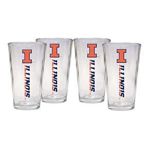 Illinois Fighting Illini 4-Piece Pint Glass Set