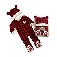 Baby Aspen Red Plaid Fleece Pajama Gift Set