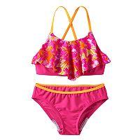 Girls 7-16 Speedo Jungle Floral Ruffle Bikini Swimsuit Set