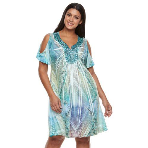 Plus Size World Unity Embellished Cold-Shoulder Dress