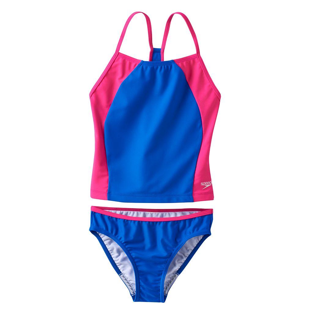 Girls 7-16 Speedo Splice Tankini Swimsuit Set