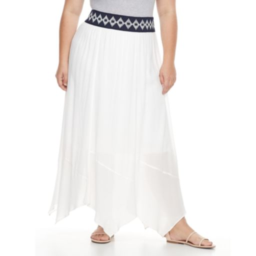 Plus Size AB Studio Print-Waistband Crinkle Skirt