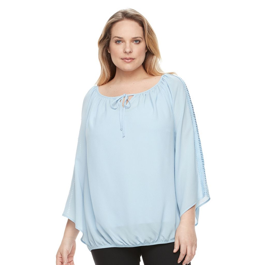 Plus Size AB Studio Textured Bell Sleeve Peasant Top
