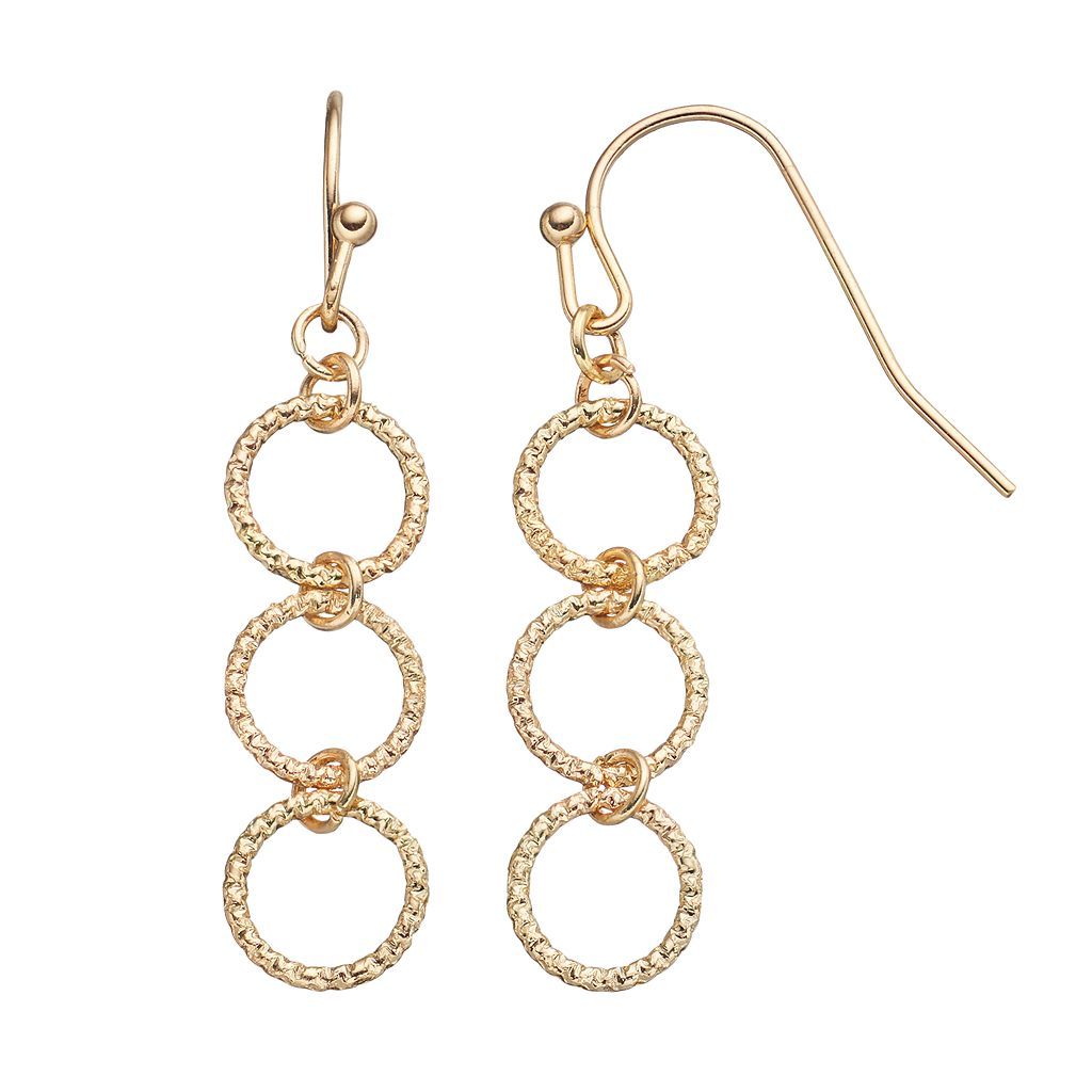LC Lauren Conrad Textured Triple Circle Link Linear Earrings