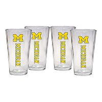 Michigan Wolverines 4 pc Pint Glass Set