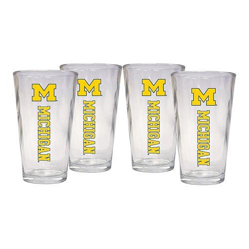 Michigan Wolverines 4-Piece Pint Glass Set