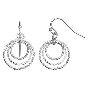 LC Lauren Conrad Textured Triple Hoop Drop Earrings