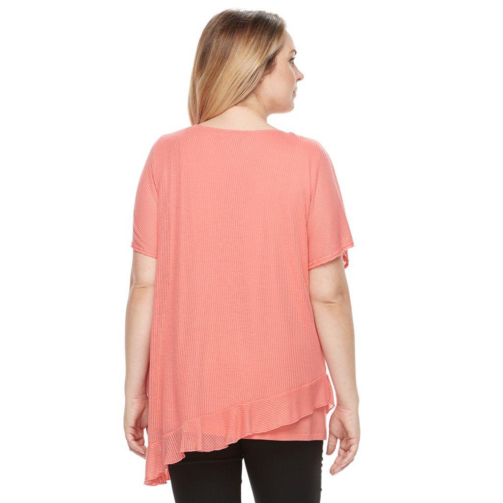 Plus Size AB Studio Shadow-Stripe Necklace Top
