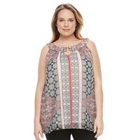 Plus Size AB Studio Scroll Chiffon Popover Top