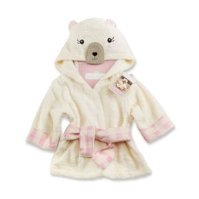 Baby Aspen Beary Bundled Cream & Pink Hooded Robe