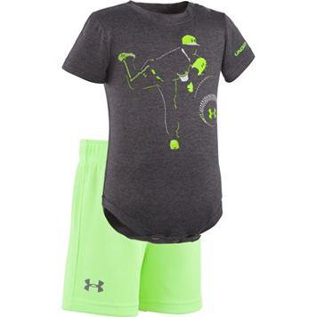 Baby Boy Under Armour Baseball Graphic Bodysuit & Mesh Shorts Set