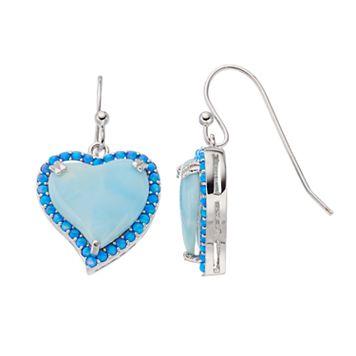 Sterling Silver Larimar & Lab-Created Blue Opal Heart Halo Drop Earrings
