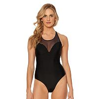 Women's Pink Envelope Solid High-Neck One-Piece Swimsuit