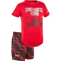 Baby Boy Under Armour Logo Graphic Bodysuit & Geometric Shorts Set