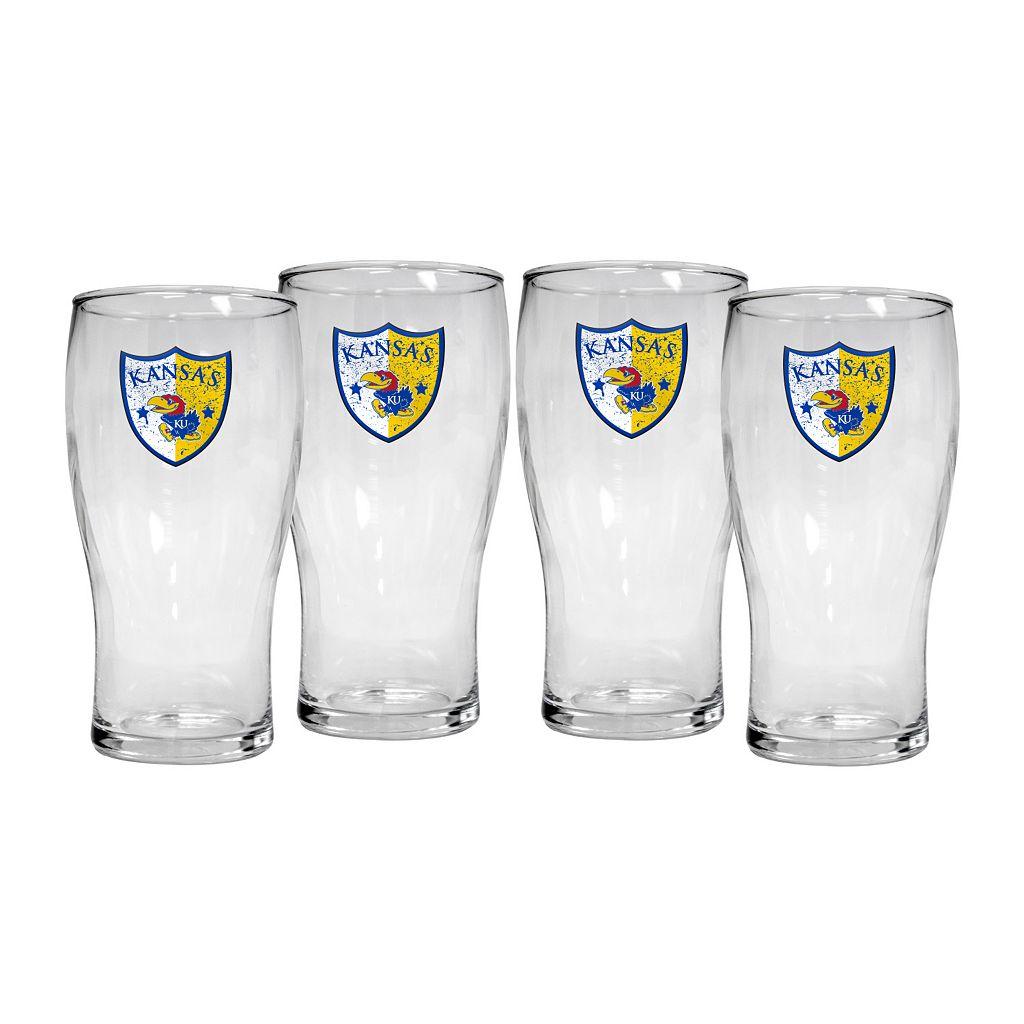 Kansas Jayhawks 4-Piece Pilsner Glass Set