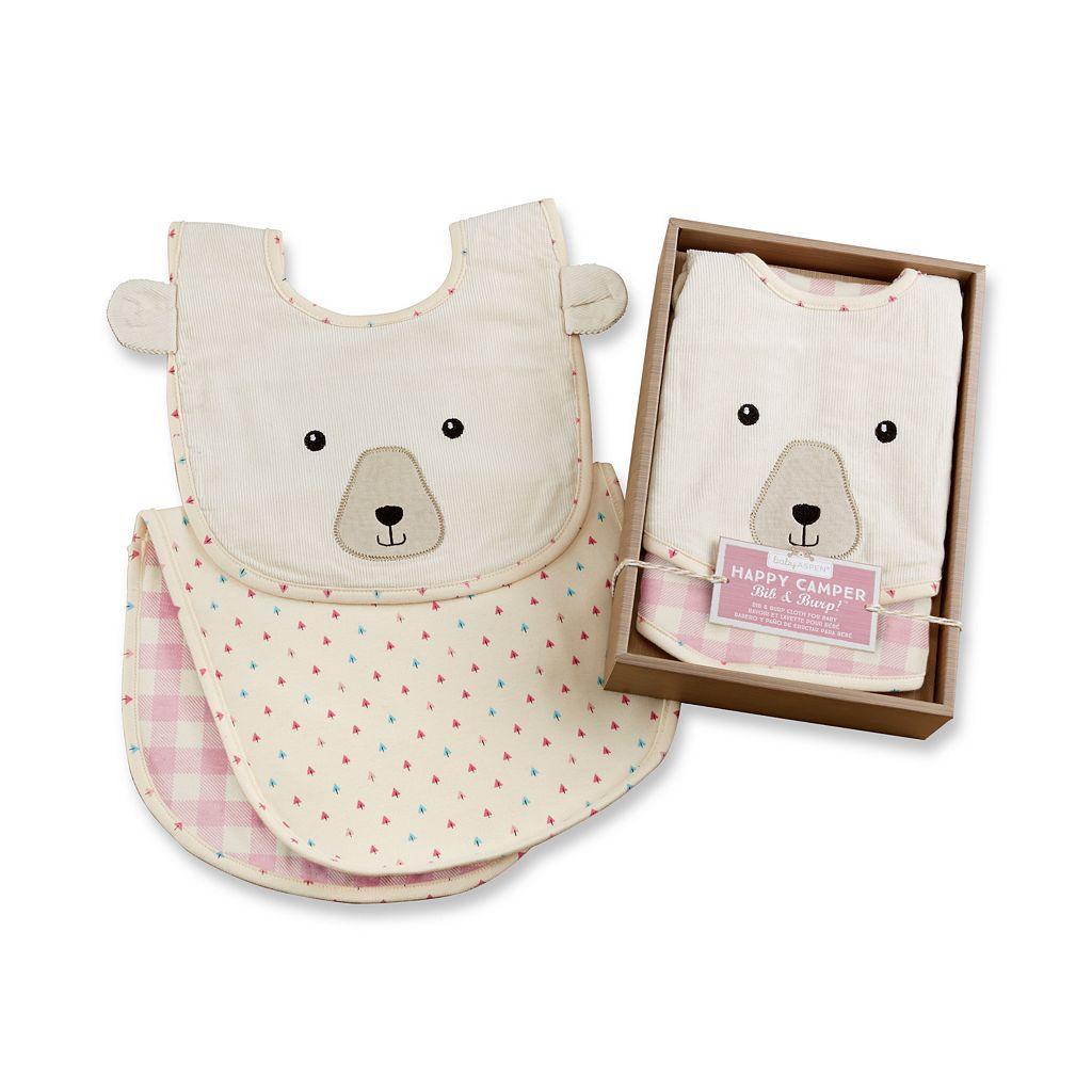 Baby Aspen Happy Camper Pink Plaid Bib & Burp Cloth Set