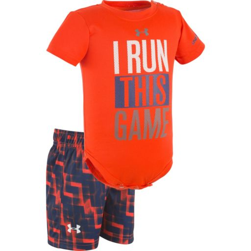 "Baby Boy Under Armour ""I Run This Game"" Graphic Bodysuit & Geometric Shorts Set"