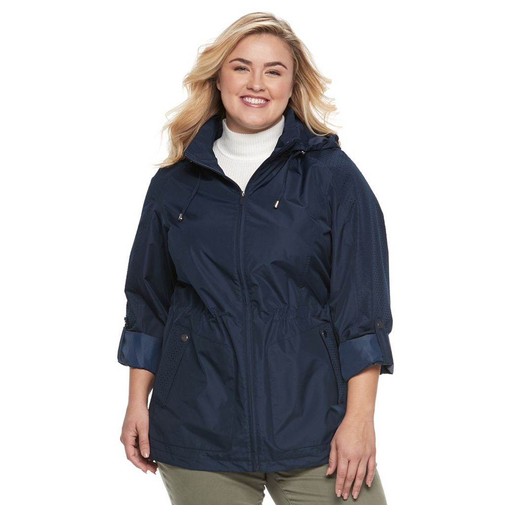 Plus Size d.e.t.a.i.l.s Roll-Tab Packable Anorak Jacket