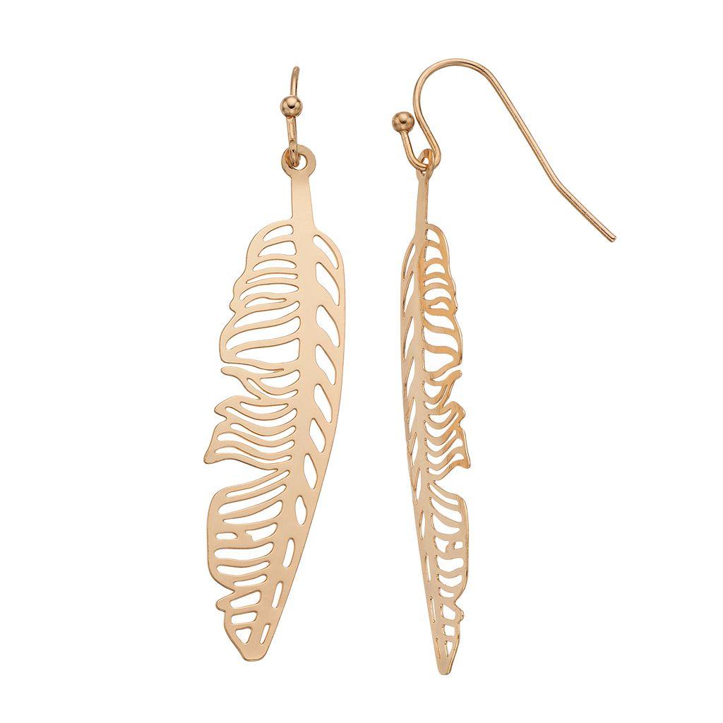 LC Lauren Conrad Openwork Feather Linear Earrings