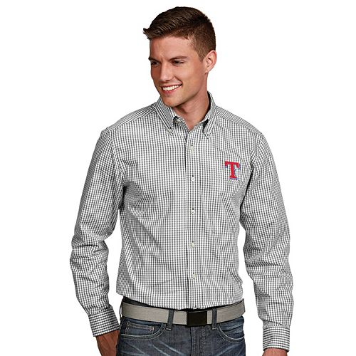 Men's Antigua Texas Rangers Associate Plaid Button-Down Shirt