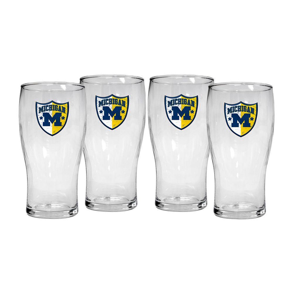 Michigan Wolverines 4-Piece Pilsner Glass Set