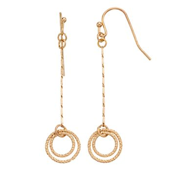 LC Lauren Conrad Double Circle & Chain Linear Earrings
