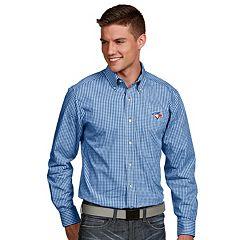 Men's Antigua Toronto Blue Jays Associate Plaid Button-Down Shirt