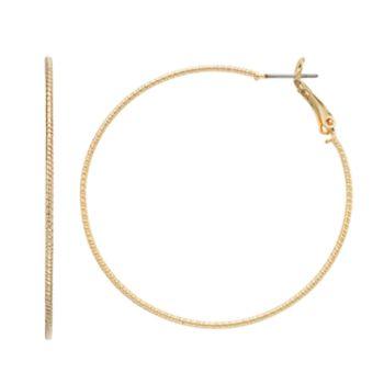 LC Lauren Conrad Textured Leverback Hoop Earrings