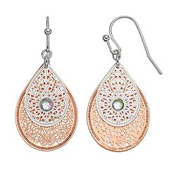 LC Lauren Conrad Two-Tone Filigree Double Teardrop Earrings