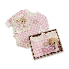 Baby Aspen Happy Camper Pink Plaid 3 pc Gift Set