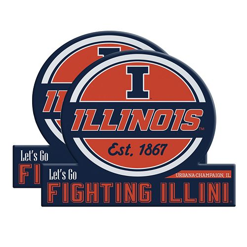 Illinois Fighting Illini Jumbo Tailgate Magnet 2-Pack