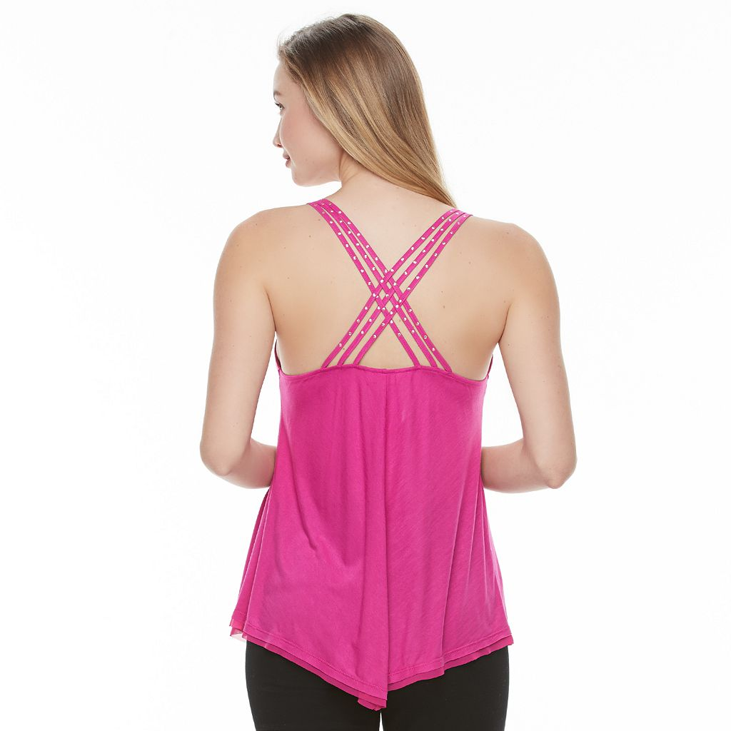 Juniors' Candie's® Embellished Cross-Back Camisole